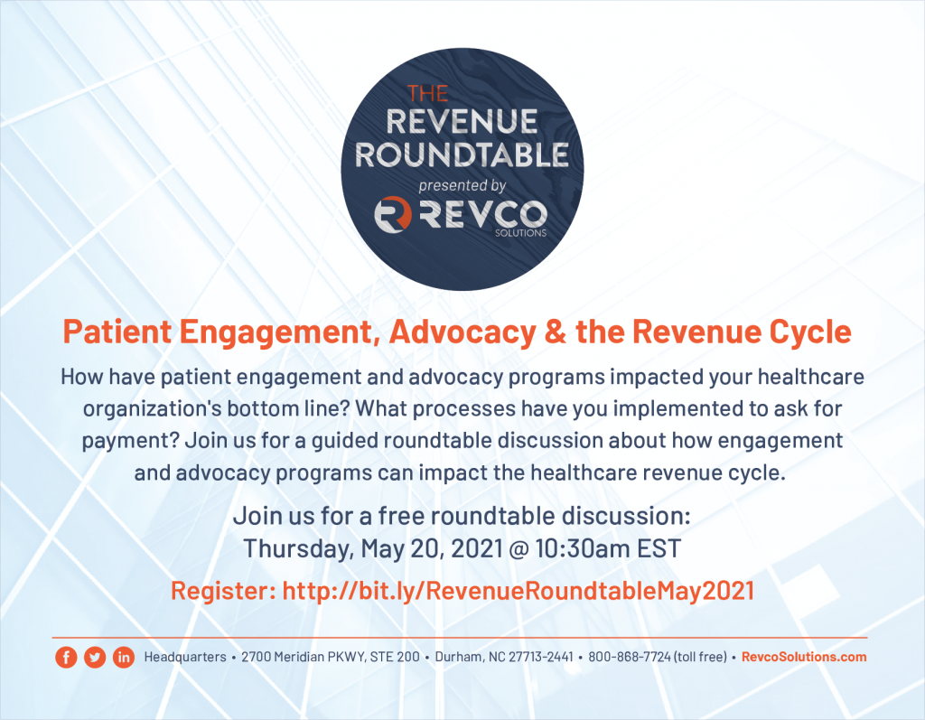 Join us for a free Revenue Roundtable event on Thursday, May 20th at 10:30am EST.